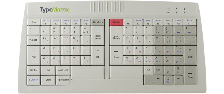 TypeMatrix 2030 DQ - DVORAK / QWERTY Dual Labeled